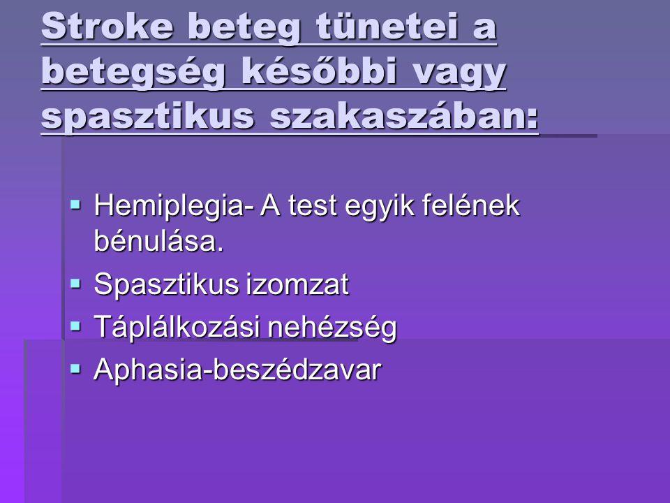 Stroke beteg tünetei a betegség későbbi vagy spasztikus szakaszában:  Hemiplegia- A test egyik felének bénulása.  Spasztikus izomzat  Táplálkozási
