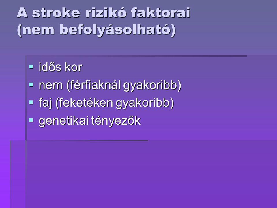 A stroke rizikó faktorai (nem befolyásolható)  idős kor  nem (férfiaknál gyakoribb)  faj (feketéken gyakoribb)  genetikai tényezők