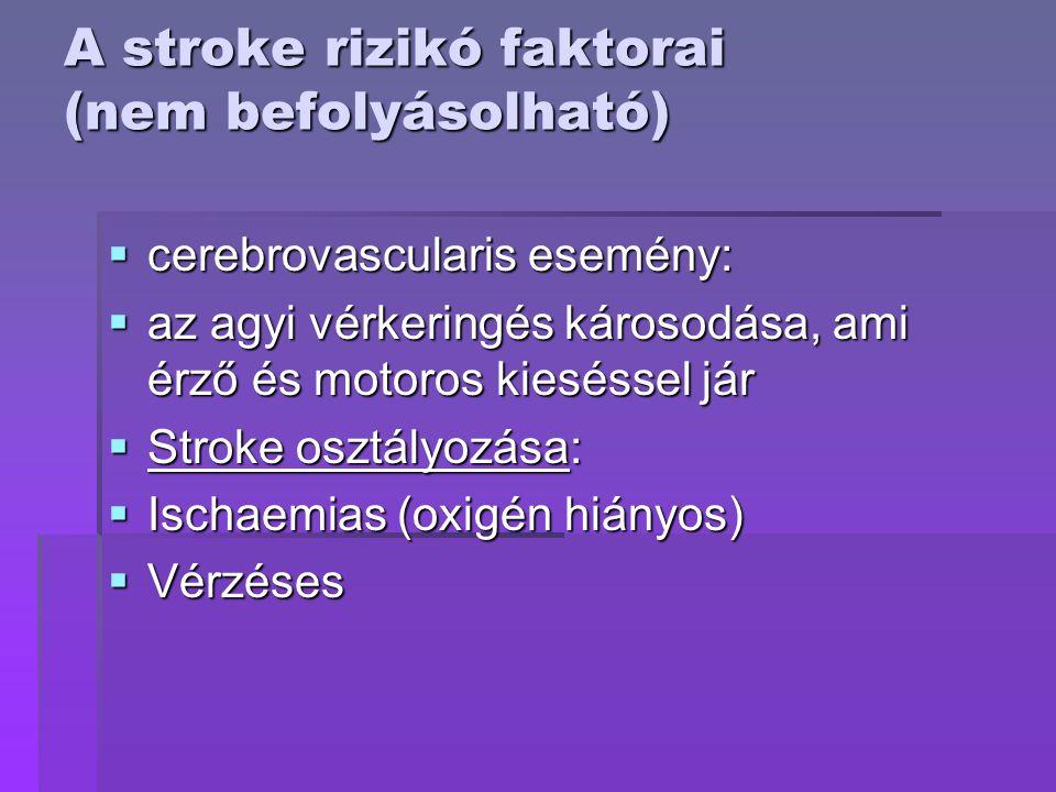A stroke rizikó faktorai (nem befolyásolható)  cerebrovascularis esemény:  az agyi vérkeringés károsodása, ami érző és motoros kieséssel jár  Strok