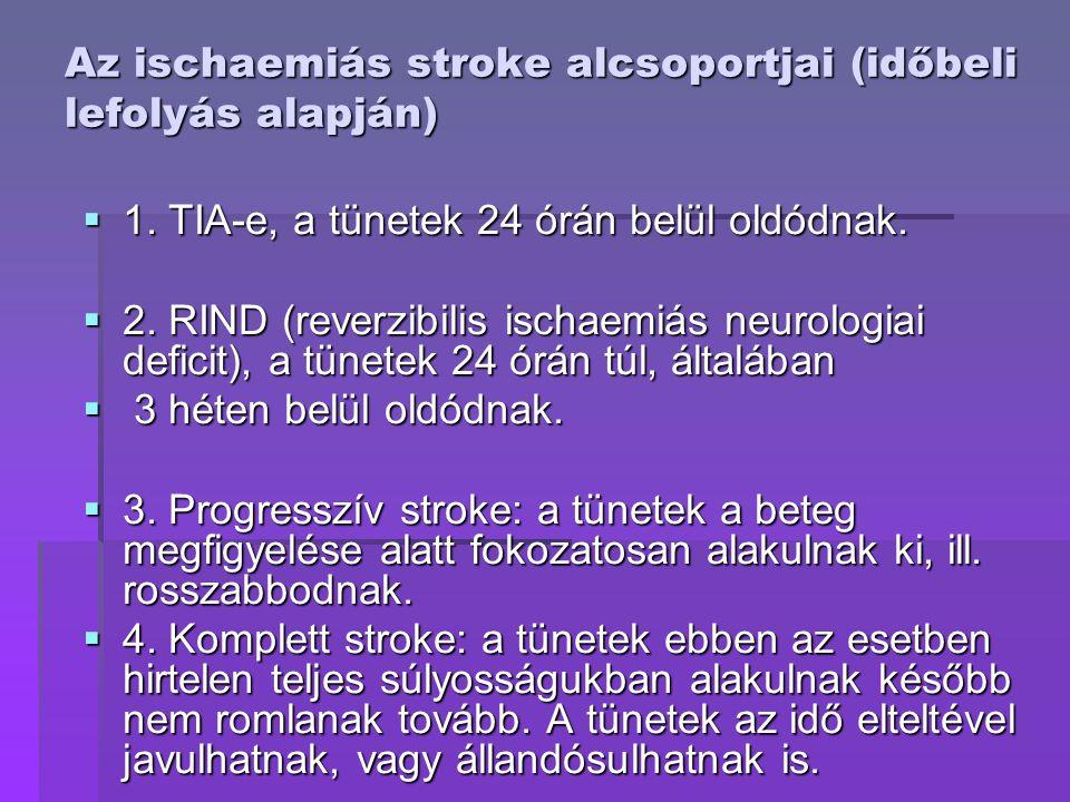Az ischaemiás stroke alcsoportjai (időbeli lefolyás alapján)  1. TIA-e, a tünetek 24 órán belül oldódnak.  2. RIND (reverzibilis ischaemiás neurolog