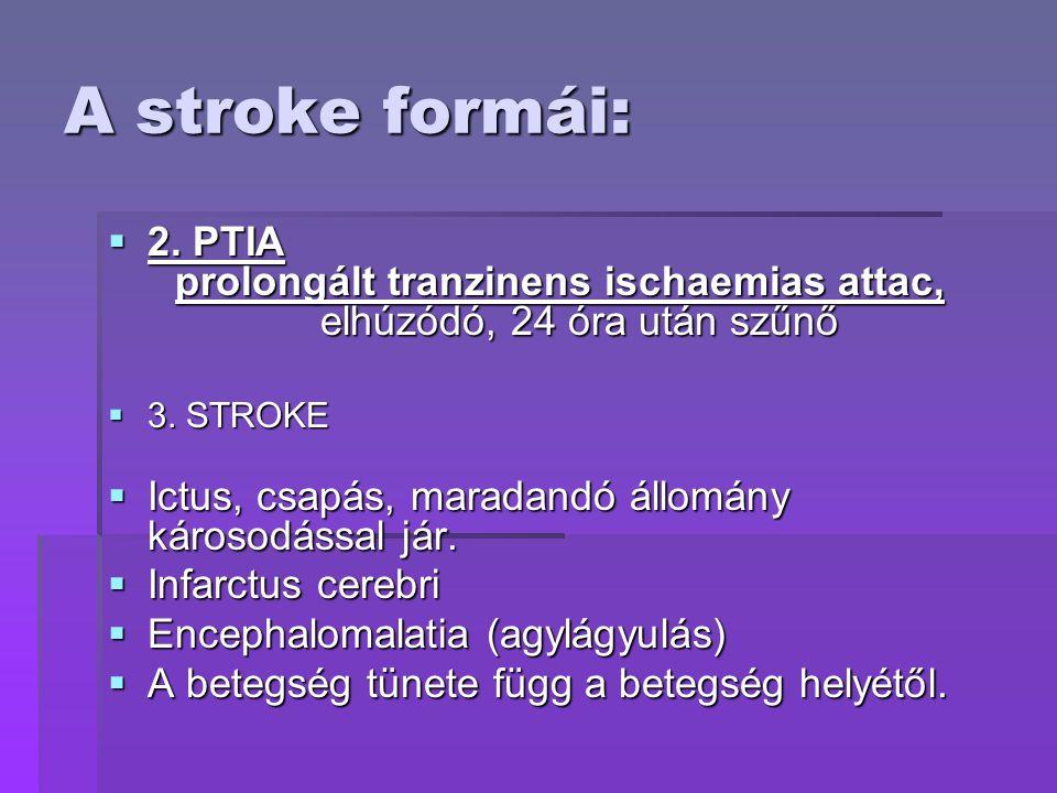 A stroke formái:  2. PTIA prolongált tranzinens ischaemias attac, elhúzódó, 24 óra után szűnő  3. STROKE  Ictus, csapás, maradandó állomány károsod