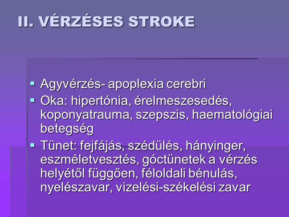II. VÉRZÉSES STROKE  Agyvérzés- apoplexia cerebri  Oka: hipertónia, érelmeszesedés, koponyatrauma, szepszis, haematológiai betegség  Tünet: fejfájá