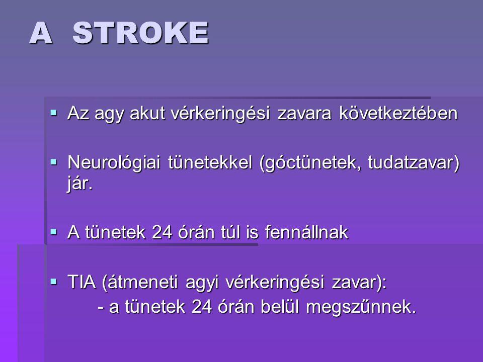 A STROKE  Az agy akut vérkeringési zavara következtében  Neurológiai tünetekkel (góctünetek, tudatzavar) jár.  A tünetek 24 órán túl is fennállnak