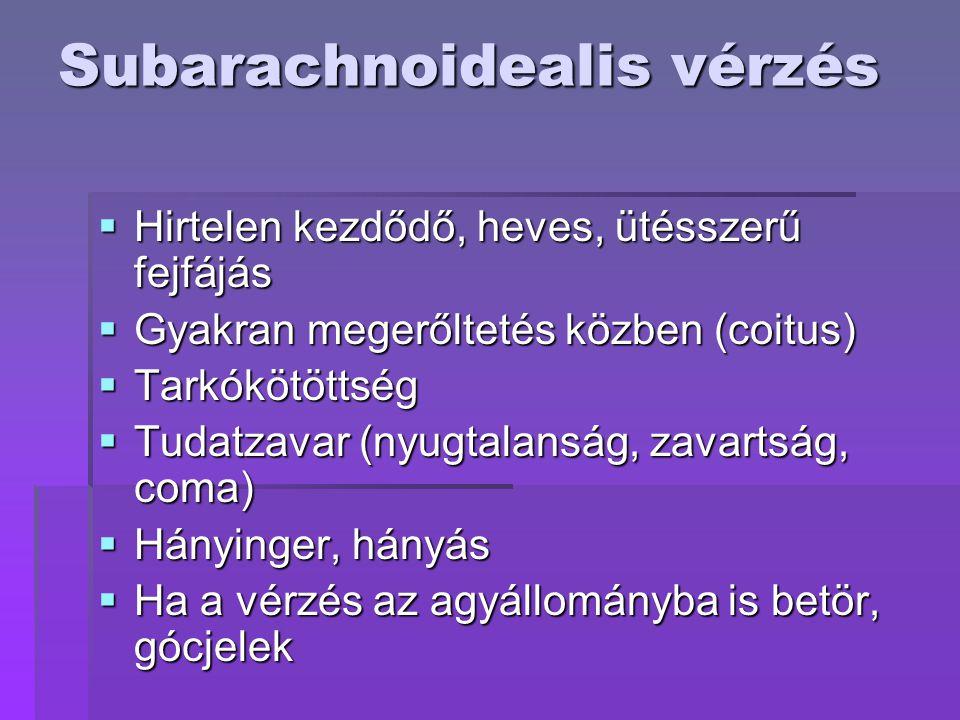 Subarachnoidealis vérzés  Hirtelen kezdődő, heves, ütésszerű fejfájás  Gyakran megerőltetés közben (coitus)  Tarkókötöttség  Tudatzavar (nyugtalanság, zavartság, coma)  Hányinger, hányás  Ha a vérzés az agyállományba is betör, gócjelek
