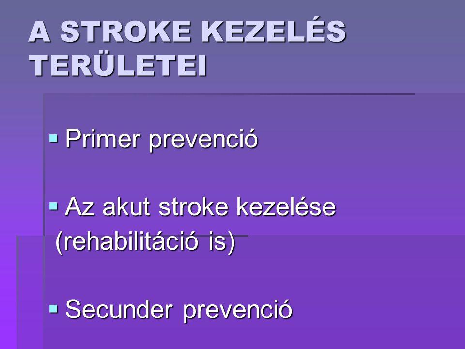 A STROKE KEZELÉS TERÜLETEI  Primer prevenció  Az akut stroke kezelése (rehabilitáció is) (rehabilitáció is)  Secunder prevenció