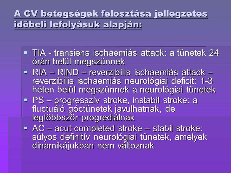 A CV betegségek felosztása jellegzetes időbeli lefolyásuk alapján:  TIA - transiens ischaemiás attack: a tünetek 24 órán belül megszünnek  RIA – RIND – reverzibilis ischaemiás attack – reverzibilis ischaemiás neurológiai deficit: 1-3 héten belül megszünnek a neurológiai tünetek  PS – progresszív stroke, instabil stroke: a fluctuáló góctünetek javulhatnak, de legtöbbször progrediálnak  AC – acut completed stroke – stabil stroke: súlyos definitív neurológiai tünetek, amelyek dinamikájukban nem változnak