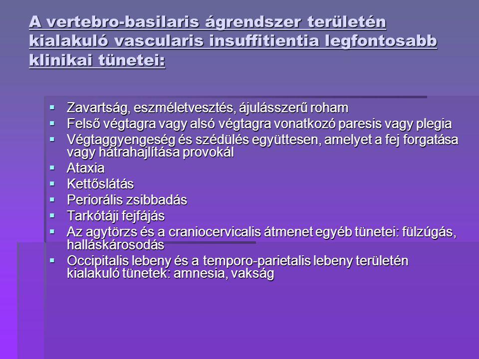 A vertebro-basilaris ágrendszer területén kialakuló vascularis insuffitientia legfontosabb klinikai tünetei:  Zavartság, eszméletvesztés, ájulásszerű roham  Felső végtagra vagy alsó végtagra vonatkozó paresis vagy plegia  Végtaggyengeség és szédülés együttesen, amelyet a fej forgatása vagy hátrahajlítása provokál  Ataxia  Kettőslátás  Periorális zsibbadás  Tarkótáji fejfájás  Az agytörzs és a craniocervicalis átmenet egyéb tünetei: fülzúgás, halláskárosodás  Occipitalis lebeny és a temporo-parietalis lebeny területén kialakuló tünetek: amnesia, vakság