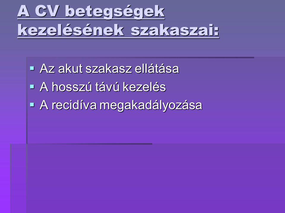 A CV betegségek kezelésének szakaszai:  Az akut szakasz ellátása  A hosszú távú kezelés  A recidíva megakadályozása
