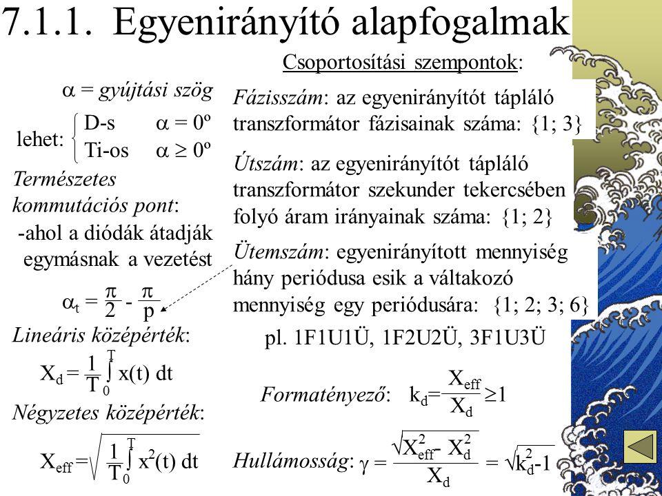 7.1.1. Egyenirányító alapfogalmak lehet: D-s Ti-os  = gyújtási szög  = 0º   0º Természetes kommutációs pont: -ahol a diódák átadják egymásnak a ve