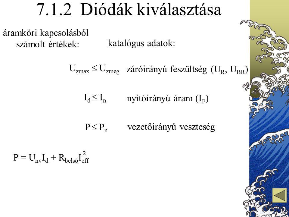 7.1.2 Diódák kiválasztása I d  I n P = U ny I d + R belső I eff 2 záróirányú feszültség (U R, U BR ) U zmax  U zmeg P  P n nyitóirányú áram (I F )