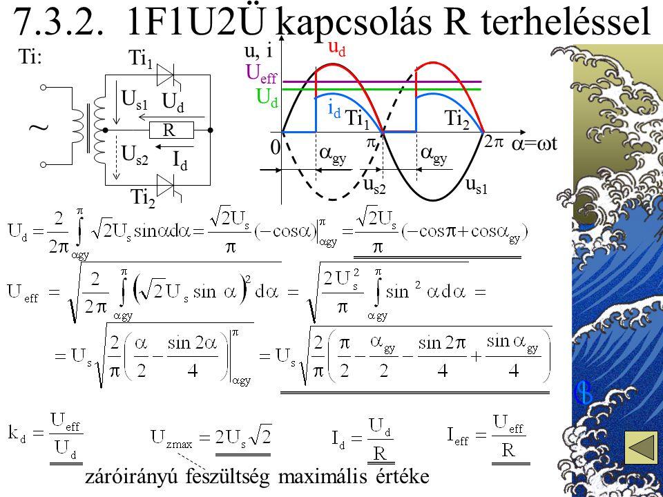 u s1 u s2 7.3.2. 1F1U2Ü kapcsolás R terheléssel Ti: UdUd IdId 0 =t=t u, i 22 UdUd U eff záróirányú feszültség maximális értéke R ~ U s1 U s2 Ti