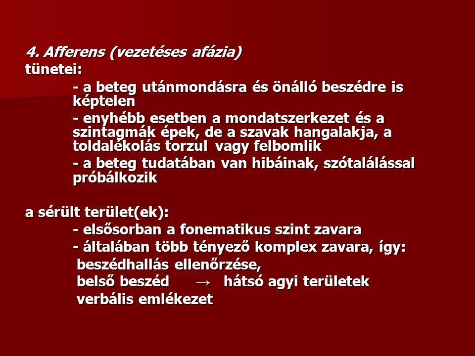 4. Afferens (vezetéses afázia) tünetei: - a beteg utánmondásra és önálló beszédre is képtelen - enyhébb esetben a mondatszerkezet és a szintagmák épek