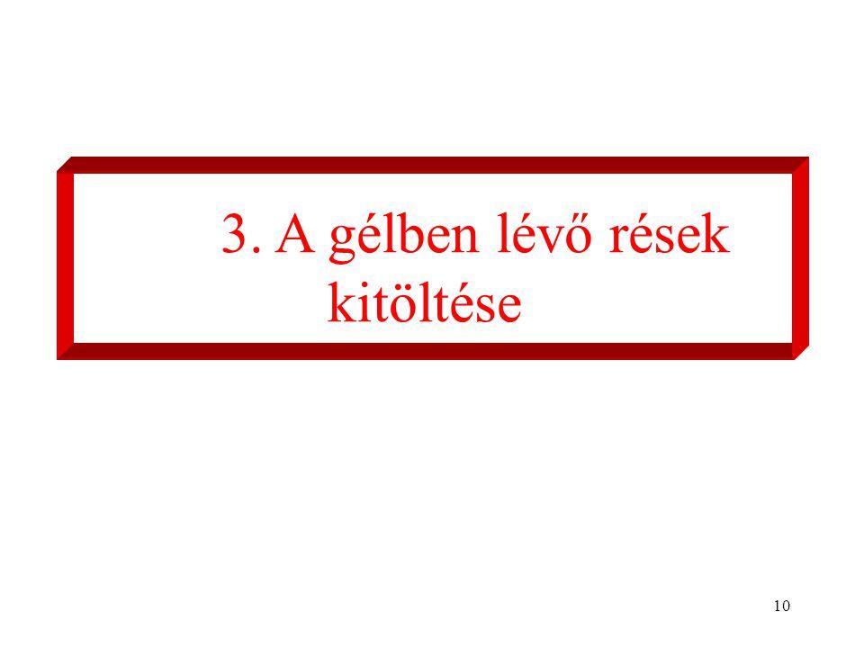 10 3. A gélben lévő rések kitöltése