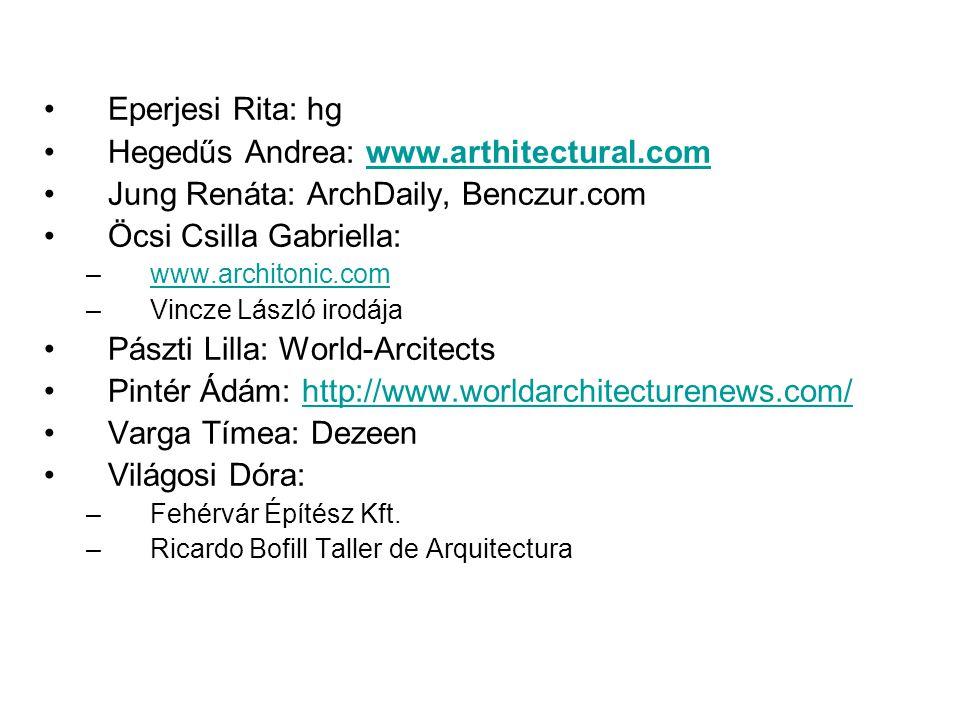 Eperjesi Rita: hg Hegedűs Andrea: www.arthitectural.comwww.arthitectural.com Jung Renáta: ArchDaily, Benczur.com Öcsi Csilla Gabriella: –www.architonic.comwww.architonic.com –Vincze László irodája Pászti Lilla: World-Arcitects Pintér Ádám: http://www.worldarchitecturenews.com/http://www.worldarchitecturenews.com/ Varga Tímea: Dezeen Világosi Dóra: –Fehérvár Építész Kft.