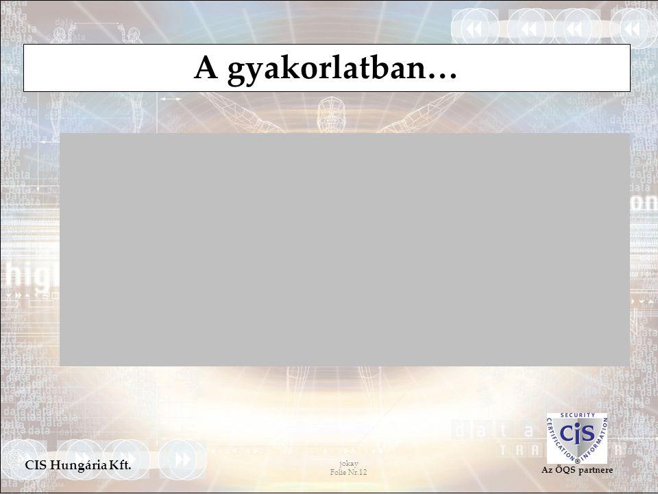 jokay Folie Nr.12 CIS Hungária Kft. Az ÖQS partnere A gyakorlatban…