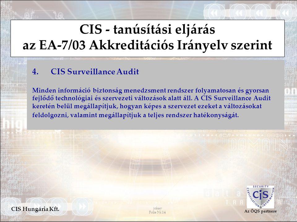 jokay Folie Nr.14 CIS Hungária Kft. Az ÖQS partnere CIS - tanúsítási eljárás az EA-7/03 Akkreditációs Irányelv szerint 4. CIS Surveillance Audit Minde