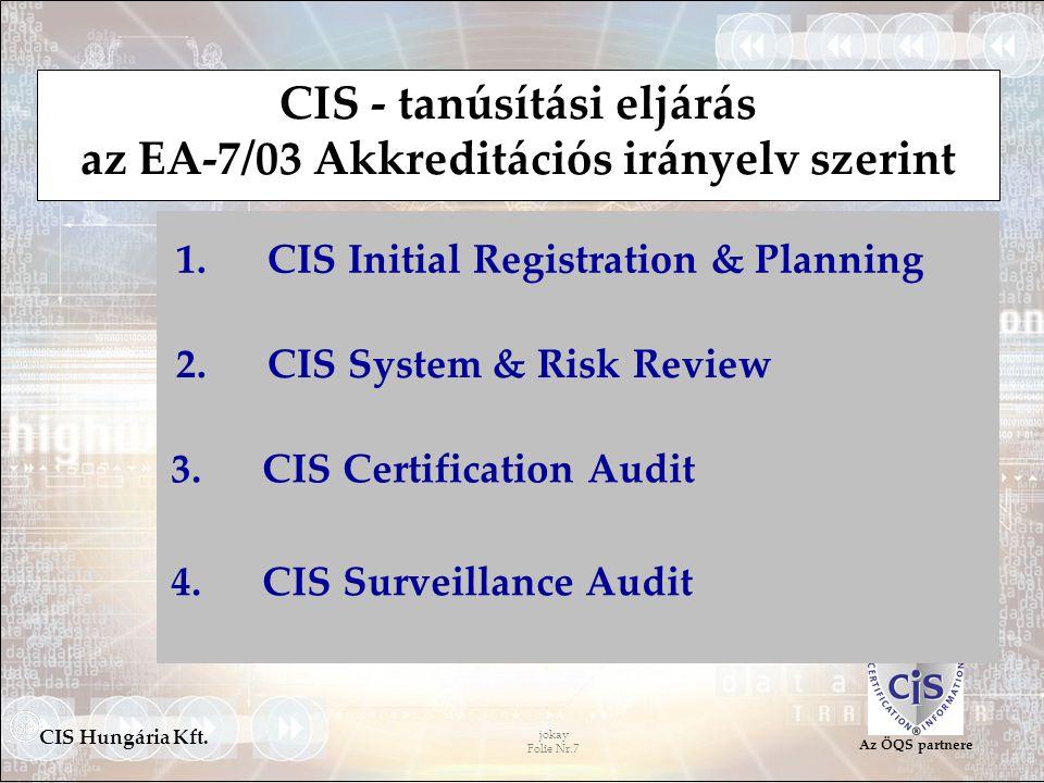 jokay Folie Nr.7 CIS Hungária Kft. Az ÖQS partnere CIS - tanúsítási eljárás az EA-7/03 Akkreditációs irányelv szerint 1. CIS Initial Registration & Pl