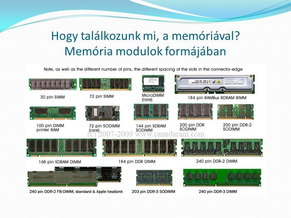 Hogy találkozunk mi, a memóriával? Memória modulok formájában