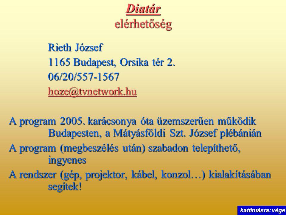 Diatár elérhetőség Rieth József 1165 Budapest, Orsika tér 2. 06/20/557-1567 hoze@tvnetwork.hu A program 2005. karácsonya óta üzemszerűen működik Budap