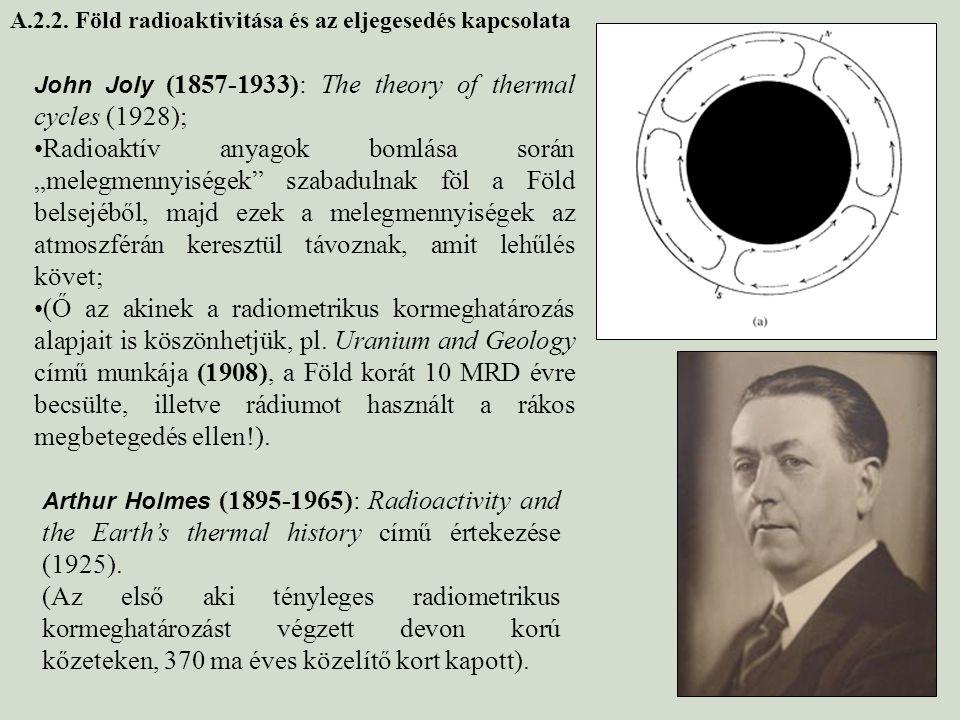"""John Joly (1857-1933): The theory of thermal cycles (1928); Radioaktív anyagok bomlása során """"melegmennyiségek"""" szabadulnak föl a Föld belsejéből, maj"""
