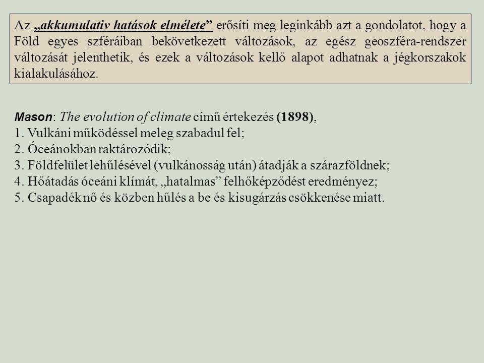 Mason : The evolution of climate című értekezés (1898), 1. Vulkáni működéssel meleg szabadul fel; 2. Óceánokban raktározódik; 3. Földfelület lehűlésév