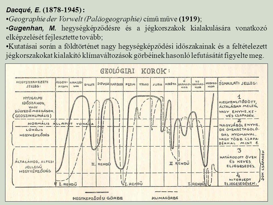 Dacqué, E. (1878-1945) : Geographie der Vorwelt (Paläogeographie) című műve (1919); Gugenhan, M. hegységképződésre és a jégkorszakok kialakulására von