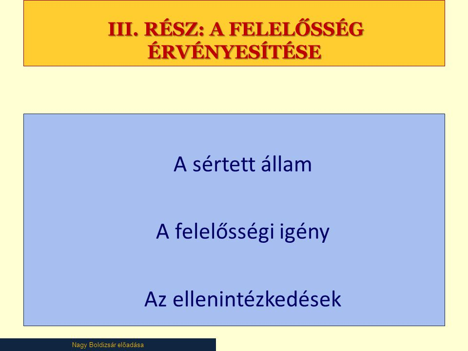 Nagy Boldizsár előadása III. RÉSZ: A FELELŐSSÉG ÉRVÉNYESÍTÉSE III.