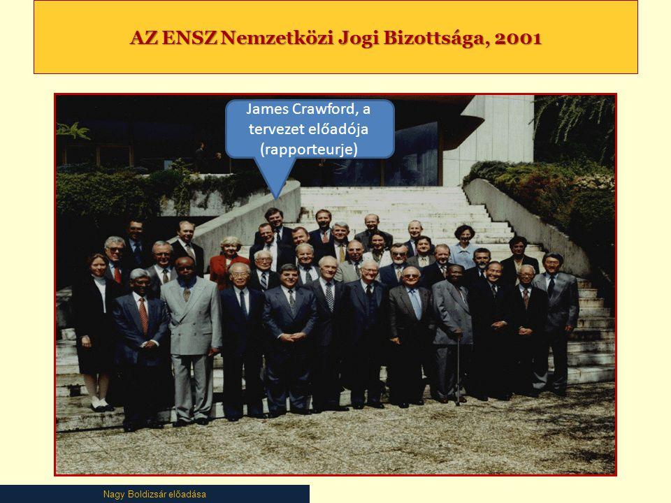 Nagy Boldizsár előadása AZ ENSZ Nemzetközi Jogi Bizottsága, 2001 James Crawford, a tervezet előadója (rapporteurje)