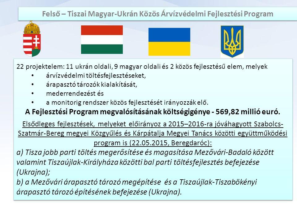 22 projektelem: 11 ukrán oldali, 9 magyar oldali és 2 közös fejlesztésű elem, melyek árvízvédelmi töltésfejlesztéseket, árapasztó tározók kialakítását