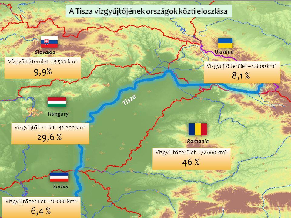 Serbia Ukraine Hungary Romania Slovakia A Tisza vízgyűjtőjének országok közti eloszlása Vízgyűjtő terület - 15 500 km 2 9,9% Vízgyűjtő terület – 72 00