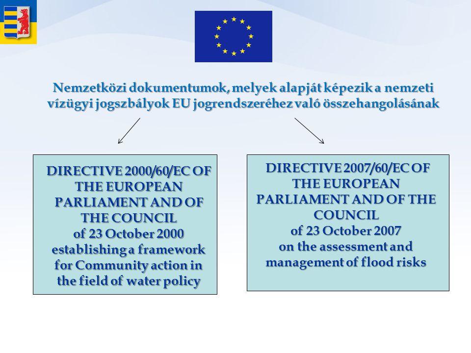 Nemzetközi dokumentumok, melyek alapját képezik a nemzeti vízügyi jogszbályok EU jogrendszeréhez való összehangolásának DIRECTIVE 2007/60/EC OF THE EU
