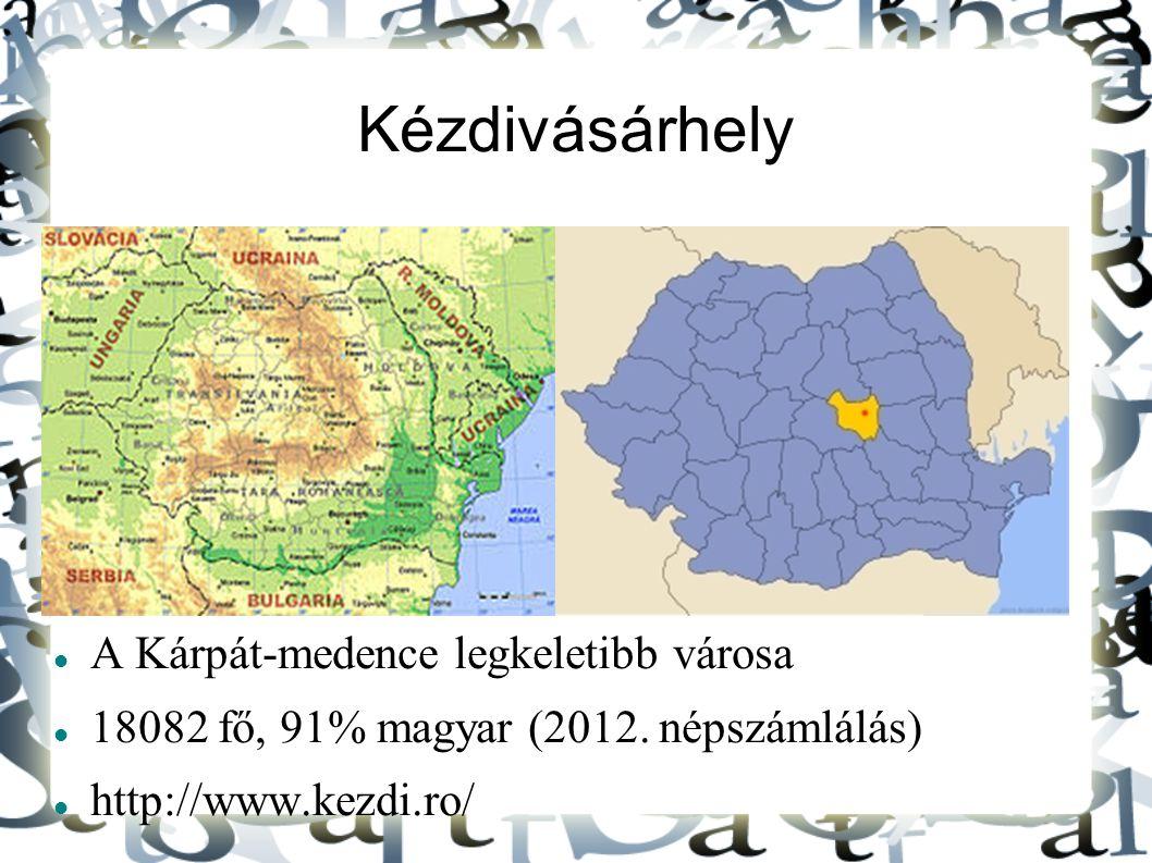 Kézdivásárhely A Kárpát-medence legkeletibb városa 18082 fő, 91% magyar (2012.