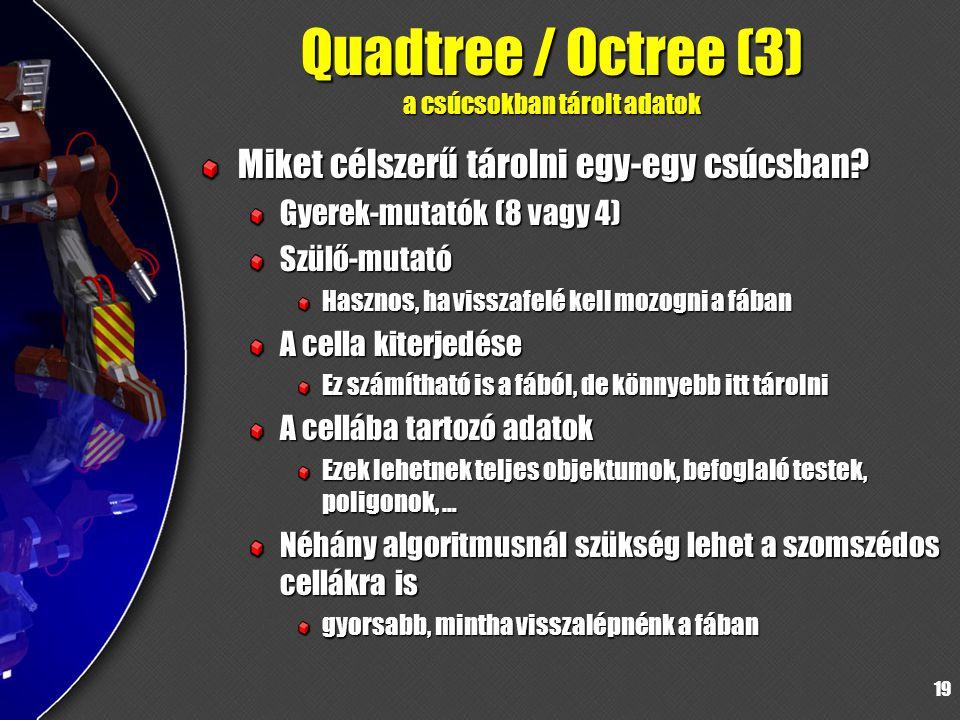 19 Quadtree / Octree (3) a csúcsokban tárolt adatok Miket célszerű tárolni egy-egy csúcsban.