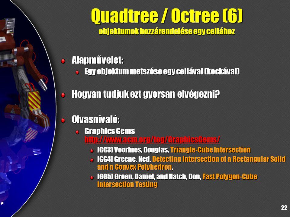 22 Quadtree / Octree (6) objektumok hozzárendelése egy cellához Alapművelet: Egy objektum metszése egy cellával (kockával) Hogyan tudjuk ezt gyorsan elvégezni.