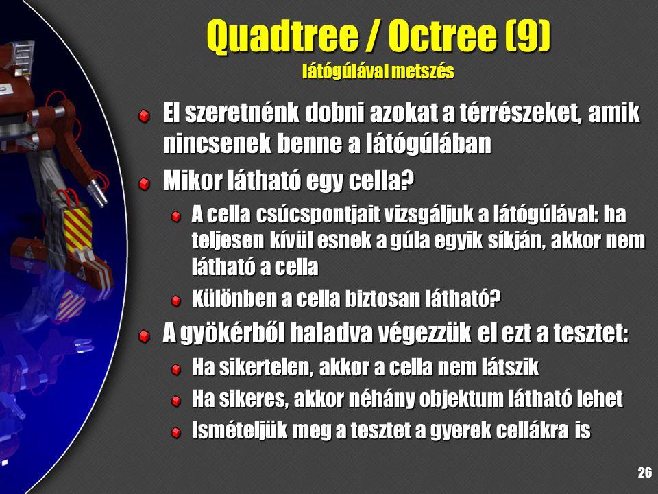 26 Quadtree / Octree (9) látógúlával metszés El szeretnénk dobni azokat a térrészeket, amik nincsenek benne a látógúlában Mikor látható egy cella.