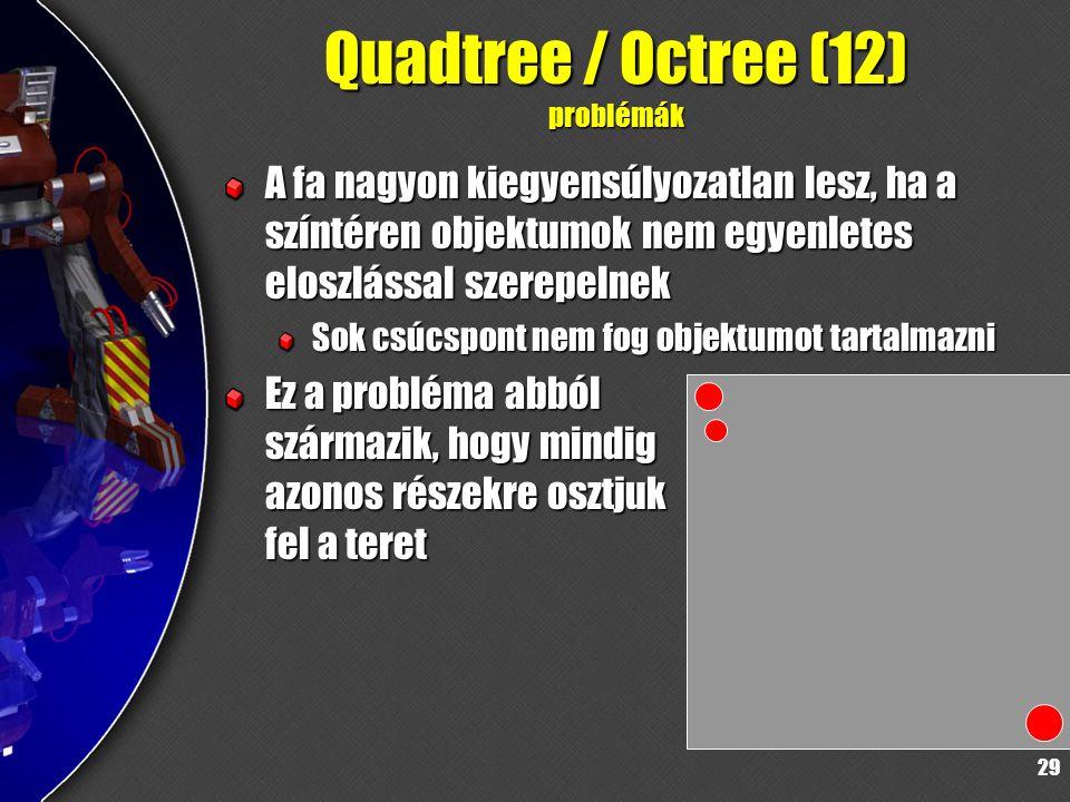 29 Quadtree / Octree (12) problémák A fa nagyon kiegyensúlyozatlan lesz, ha a színtéren objektumok nem egyenletes eloszlással szerepelnek Sok csúcspont nem fog objektumot tartalmazni Ez a probléma abból származik, hogy mindig azonos részekre osztjuk fel a teret