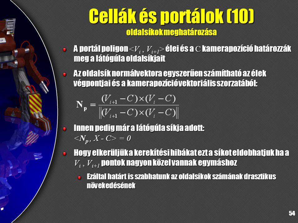 54 Cellák és portálok (10) oldalsíkok meghatározása A portál poligon élei és a C kamerapozíció határozzák meg a látógúla oldalsíkjait Az oldalsík normálvektora egyszerűen számítható az élek végpontjai és a kamerapozíció vektoriális szorzatából: Innen pedig már a látógúla síkja adott: = 0 Hogy elkerüljük a kerekítési hibákat ezt a síkot eldobhatjuk ha a V i, V i+1 pontok nagyon közel vannak egymáshoz Ezáltal határt is szabhatunk az oldalsíkok számának drasztikus növekedésének