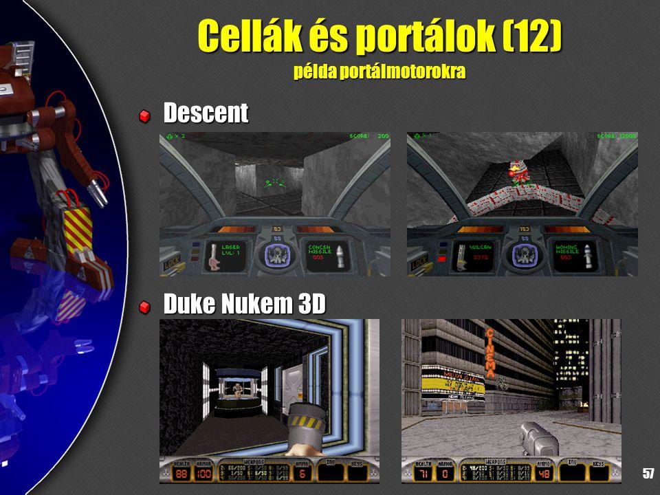 57 Cellák és portálok (12) példa portálmotorokra Descent Duke Nukem 3D