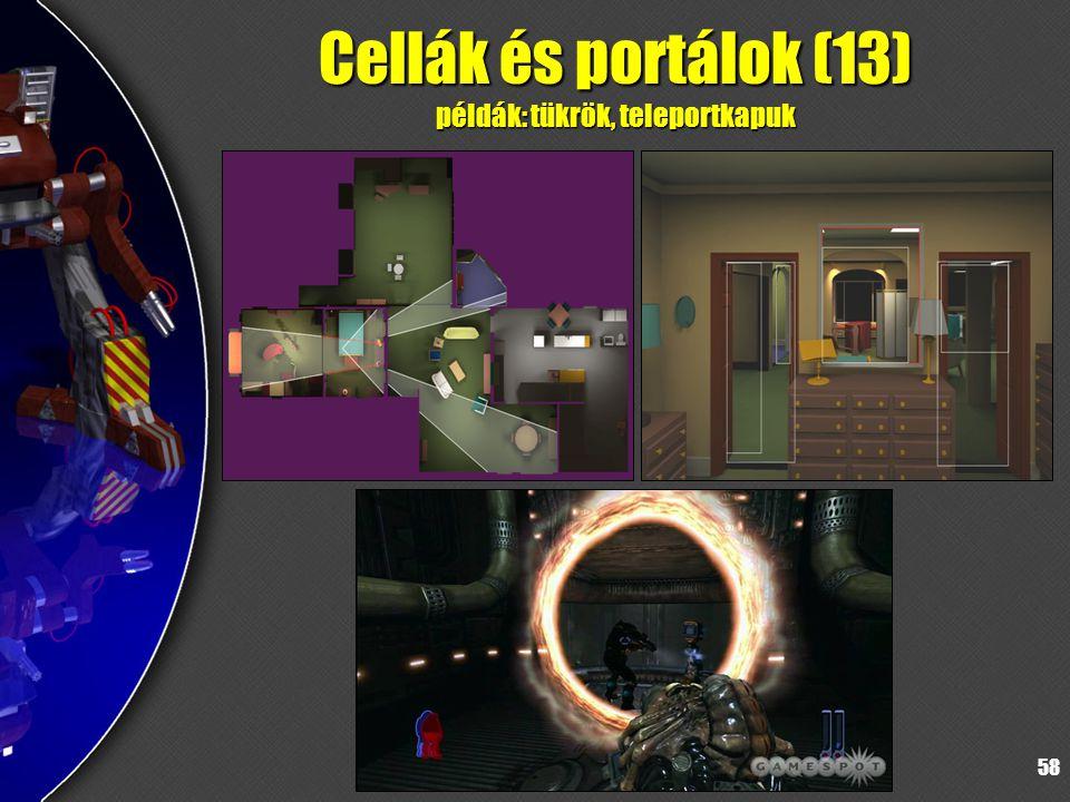 58 Cellák és portálok (13) példák: tükrök, teleportkapuk