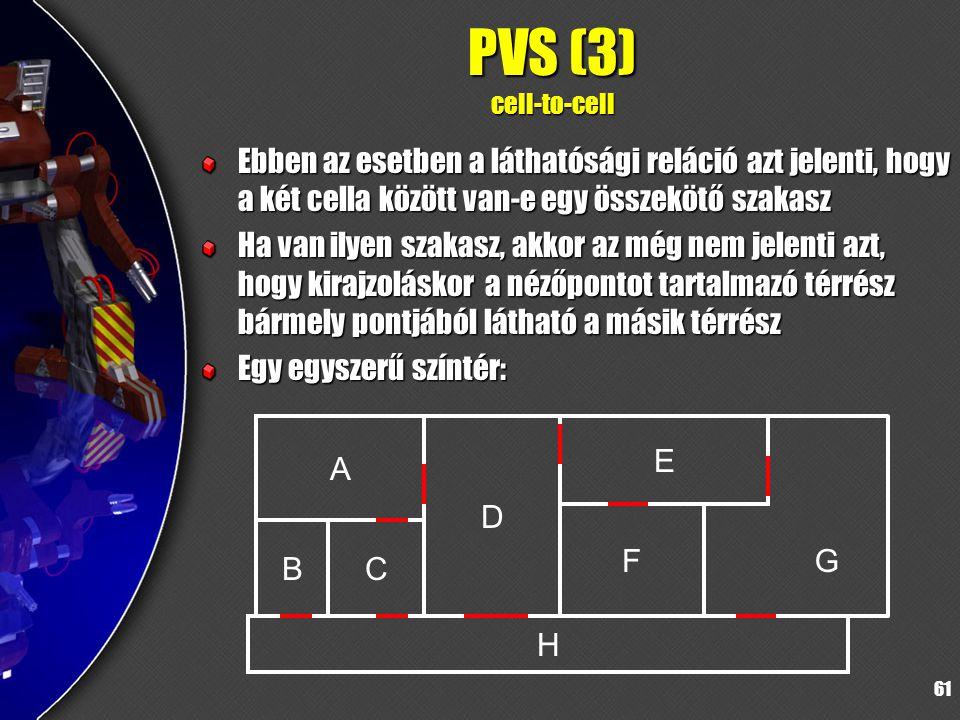 61 PVS (3) cell-to-cell Ebben az esetben a láthatósági reláció azt jelenti, hogy a két cella között van-e egy összekötő szakasz Ha van ilyen szakasz, akkor az még nem jelenti azt, hogy kirajzoláskor a nézőpontot tartalmazó térrész bármely pontjából látható a másik térrész Egy egyszerű színtér: A D H F CB E G