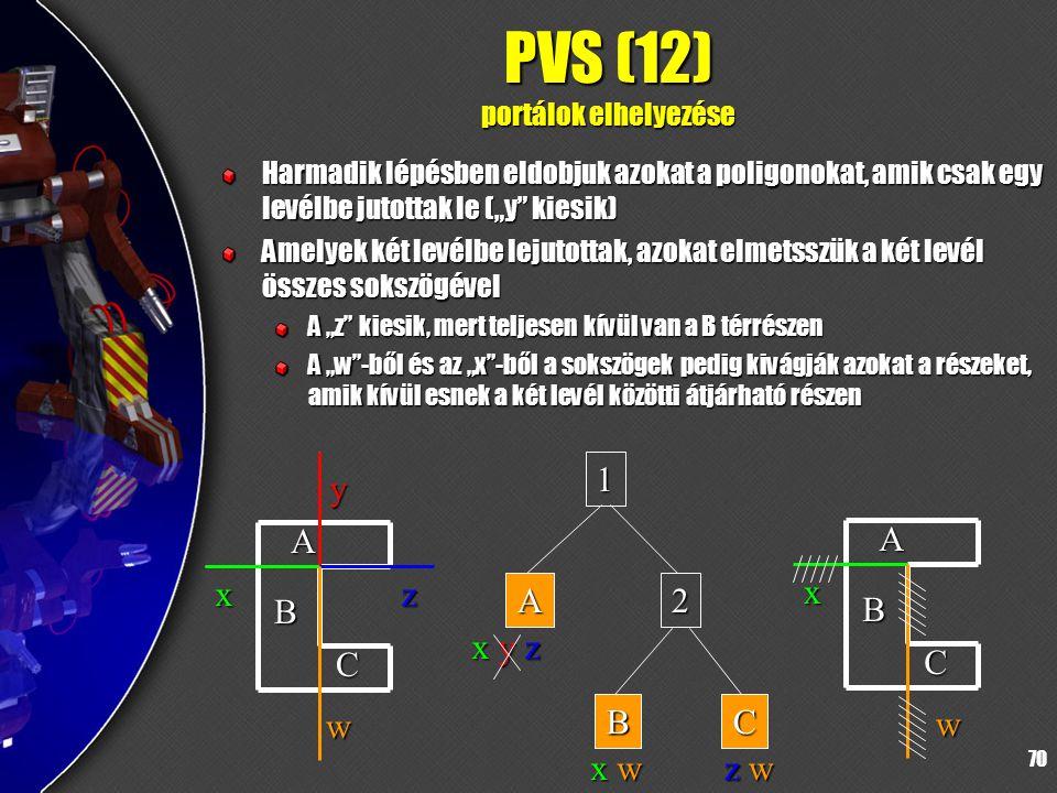"""70 PVS (12) portálok elhelyezése Harmadik lépésben eldobjuk azokat a poligonokat, amik csak egy levélbe jutottak le (""""y kiesik) Amelyek két levélbe lejutottak, azokat elmetsszük a két levél összes sokszögével A """"z kiesik, mert teljesen kívül van a B térrészen A """"w -ből és az """"x -ből a sokszögek pedig kivágják azokat a részeket, amik kívül esnek a két levél közötti átjárható részen A B C x y z w 1 A2 BC x y z A B C x w x w z wz wz wz w"""