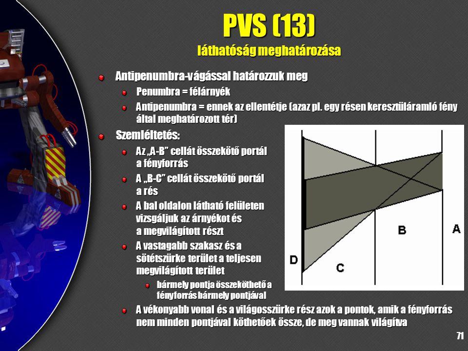 71 PVS (13) láthatóság meghatározása Antipenumbra-vágással határozzuk meg Penumbra = félárnyék Antipenumbra = ennek az ellentétje (azaz pl.