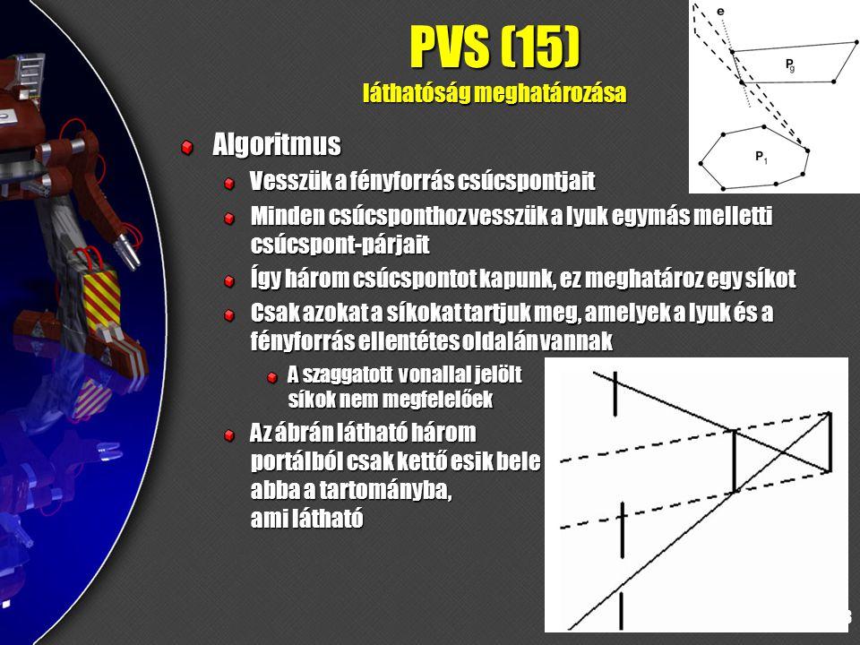 73 PVS (15) láthatóság meghatározása Algoritmus Vesszük a fényforrás csúcspontjait Minden csúcsponthoz vesszük a lyuk egymás melletti csúcspont-párjait Így három csúcspontot kapunk, ez meghatároz egy síkot Csak azokat a síkokat tartjuk meg, amelyek a lyuk és a fényforrás ellentétes oldalán vannak A szaggatott vonallal jelölt síkok nem megfelelőek Az ábrán látható három portálból csak kettő esik bele abba a tartományba, ami látható