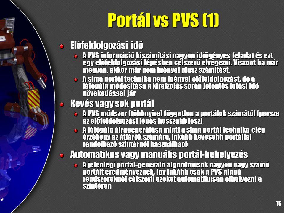 75 Portál vs PVS (1) Előfeldolgozási idő A PVS információ kiszámítási nagyon időigényes feladat és ezt egy előfeldolgozási lépésben célszerű elvégezni.