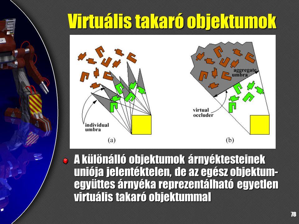 78 Virtuális takaró objektumok A különálló objektumok árnyéktesteinek uniója jelentéktelen, de az egész objektum- együttes árnyéka reprezentálható egyetlen virtuális takaró objektummal