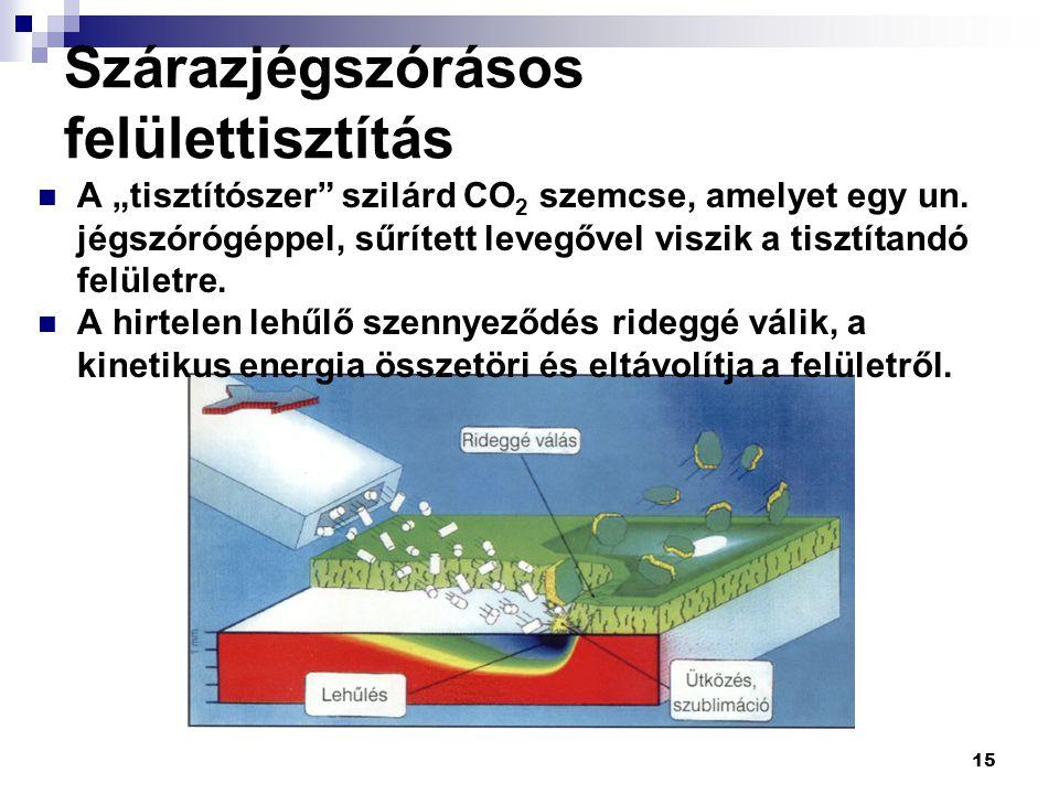 """15 Szárazjégszórásos felülettisztítás A """"tisztítószer"""" szilárd CO 2 szemcse, amelyet egy un. jégszórógéppel, sűrített levegővel viszik a tisztítandó f"""