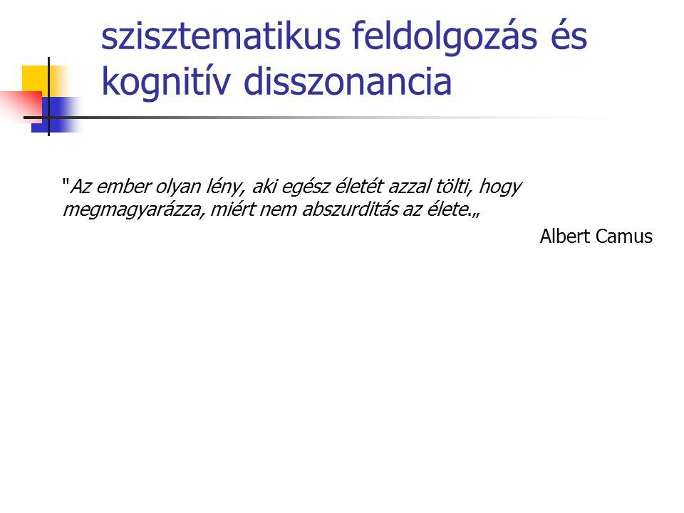 """szisztematikus feldolgozás és kognitív disszonancia Az ember olyan lény, aki egész életét azzal tölti, hogy megmagyarázza, miért nem abszurditás az élete."""" Albert Camus"""