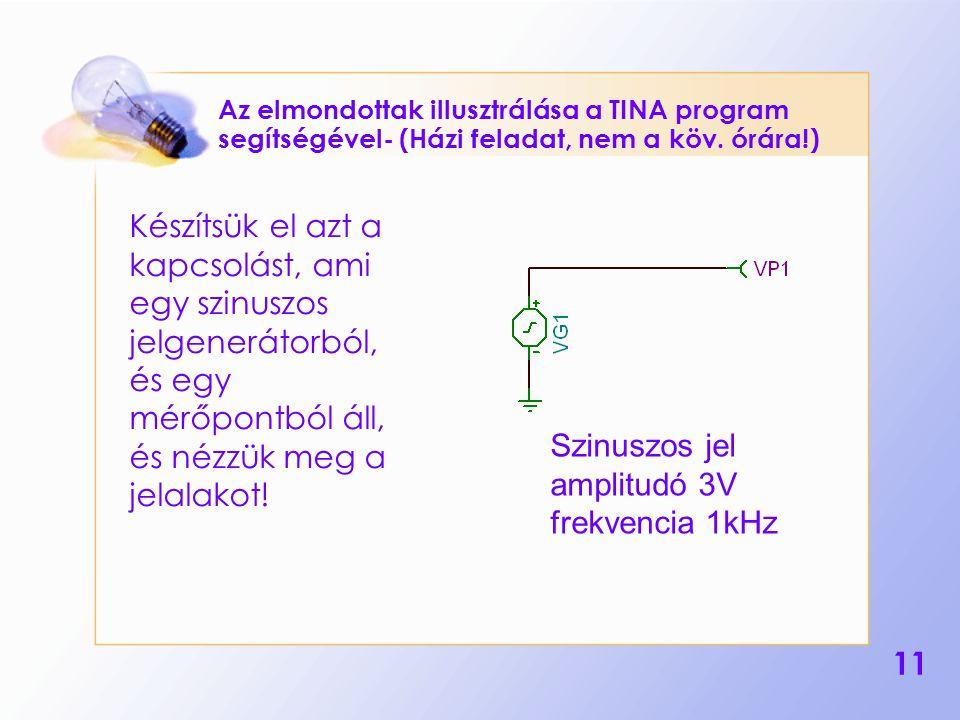 11 Az elmondottak illusztrálása a TINA program segítségével- (Házi feladat, nem a köv. órára!) Készítsük el azt a kapcsolást, ami egy szinuszos jelgen