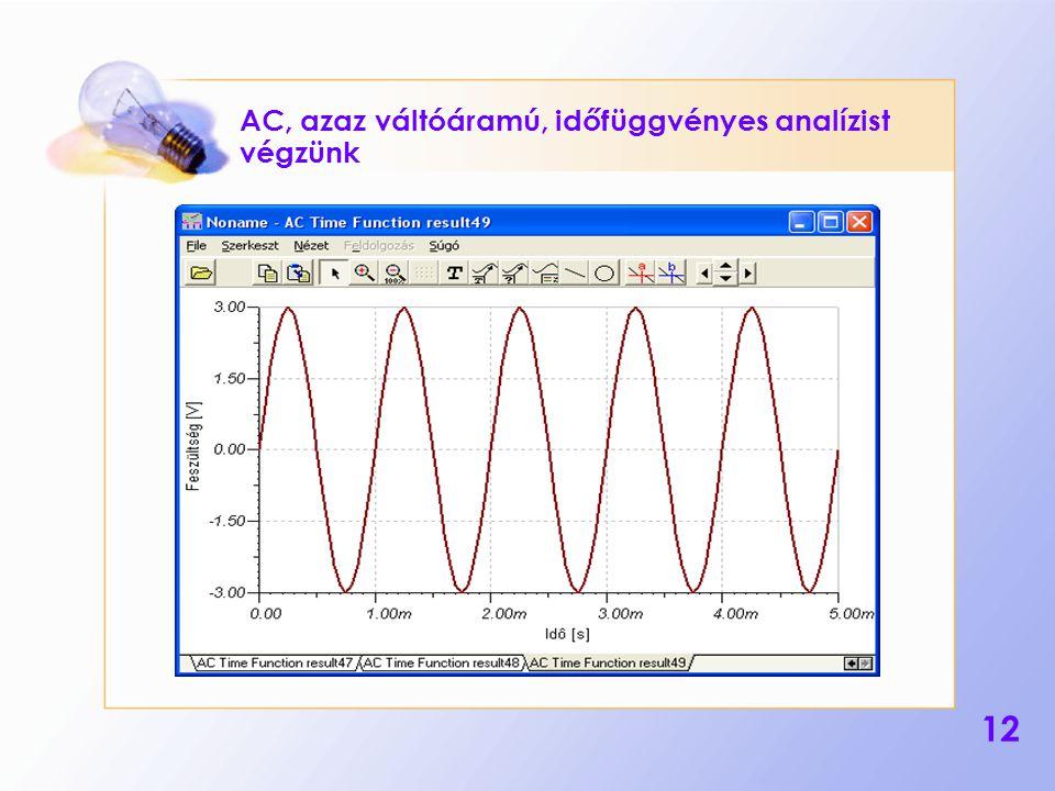 12 AC, azaz váltóáramú, időfüggvényes analízist végzünk