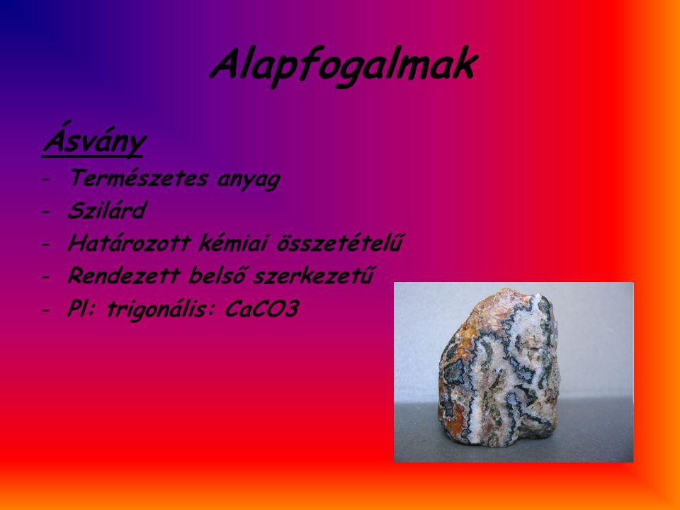 Alapfogalmak Ásvány -Természetes anyag -Szilárd -Határozott kémiai összetételű -Rendezett belső szerkezetű -Pl: trigonális: CaCO3